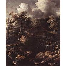 Hecho a mano de pintura al óleo de pintura GFM reproducciones de escena del bosque con molino de agua 1650, pintura al óleo por Allaert Van Everdingen, lona, 72 By 96 inches