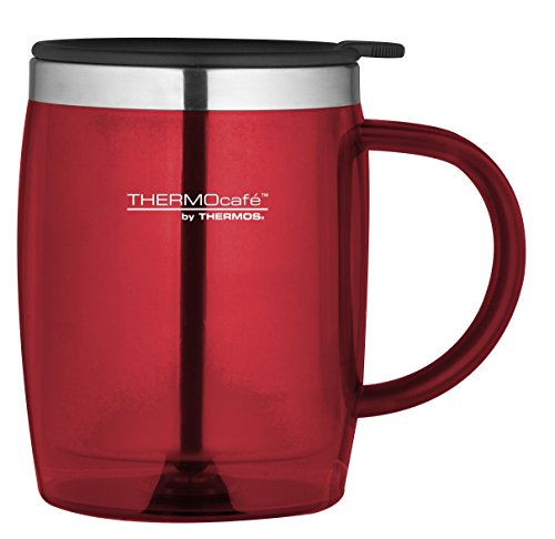 Thermocafé Plastique et acier inoxydable Desk/Mug de voyage, 450 ml, Plastique Acier inoxydable, Red, 0.45L