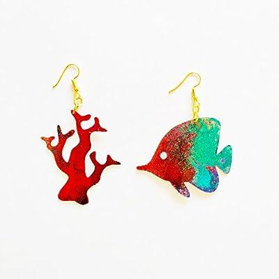 Boucles d'oreilles Dori - Boucles d'oreilles poisson - Bijoux de mer - Bijoux tropicaux - Bijoux tendance - Boucles d'oreilles fantaisie - Boucles d'oreilles corail - Cadeau pour elle