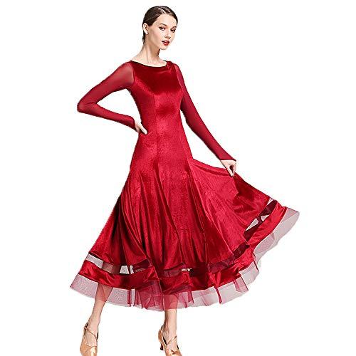 QMKJ Frühsommersommer Women Latin Dance Dress Salsa Cha Cha Tango Ballroom Kostüm schwarzrote Flannelette Lace Tassel Rumba Größe L XL ()