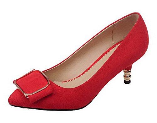 AgooLar Damen Mattglasbirne Spitz Zehe Mittler Absatz Ziehen Auf Rein Pumps Schuhe Rot