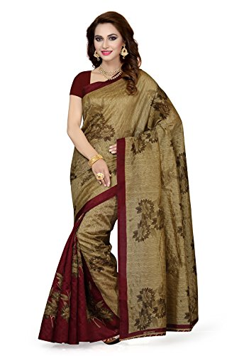 Ishin Bhagalpuri Art Silk Brown & Maroon Floral Design Printed Party Wear Wedding Wear Bollywood New Collection Latest Design Women Saree