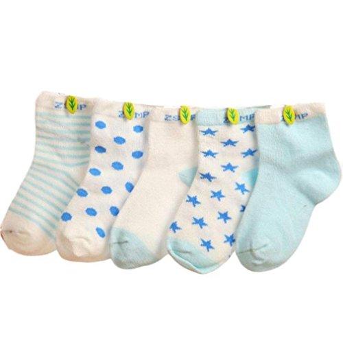 Tefamore Calcetines Bebé De Cortos Pantuflas Niños de Dibujos Animados (5 parejas) (M: A la edad de 1 a 3 años, 5 parejas(D))