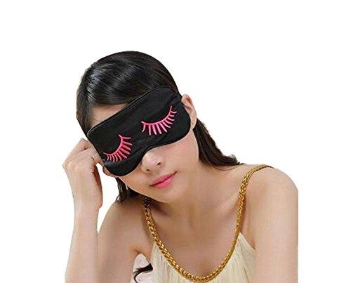 Mou Soie cache oeil/cache oeil pour dormir, Motif cils/Noir