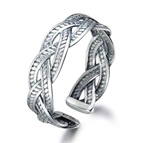snorso offener Design Sterling Silber Ring verstellbar Retro Thai Silber Twist Waven Knoten Daumen Ring