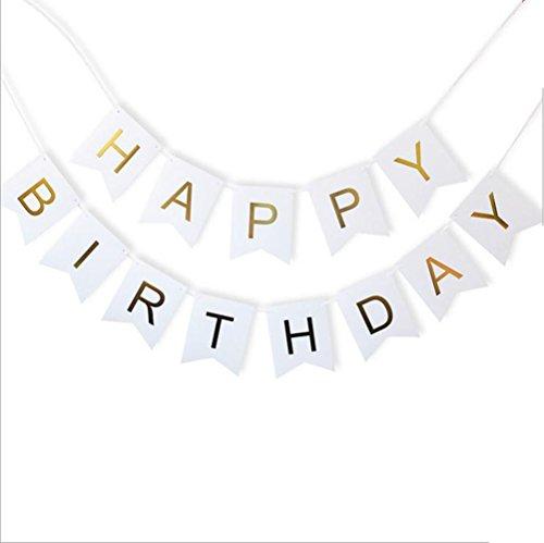 Geburtstag Shiny Goldfolie Papier Wimpel Hängende Baby Shower Banner Mit Gold Party Signs Mit String,White (Alle White Party Dekorationen)