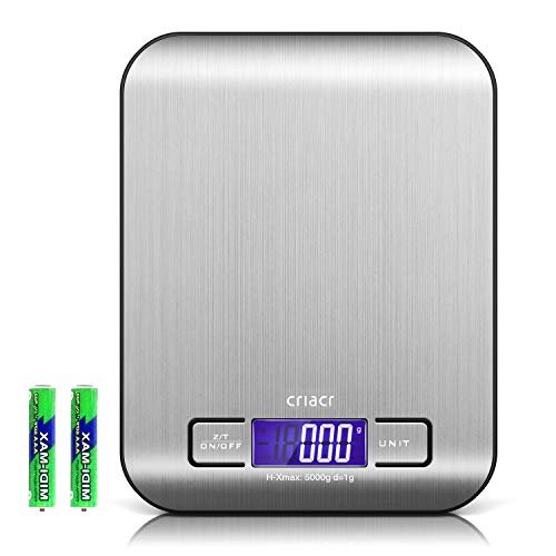 AMIR Digital Food Scales, (5kg, 0.1oz/ 1g) Kitchen Scales, Electronic Cooking Food Scales with LCD Display, Stainless Steel, Accurate Gram and Slim Design, Batteries Included (Black Border)