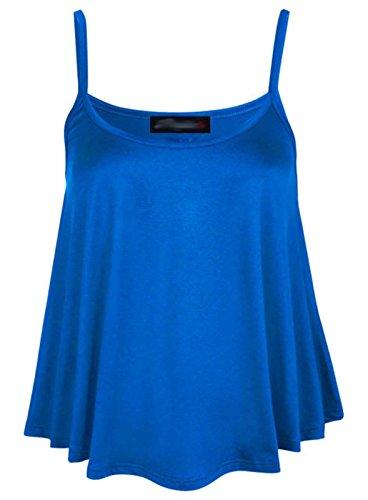 Fashion Lovers Damen Top, Einfarbig Schwarz Schwarz Schwarz - Königsblau