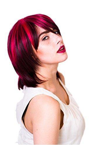 Prettyland C741 - 35cm Perruque rouge mi-longue dégradée - 3 Couleurs