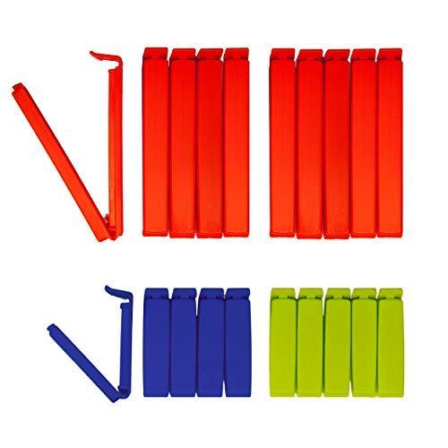 BUNEO Tütenclips Frisch & Easy (20 Stück) 20 Verschlussclips: 10 x rot (11 cm) + 5 x blau (6 cm) + 5 x grün (6 cm)