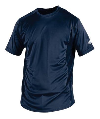 Rawlings Boy's Short Sleeve Baselayer Shirt, Navy, Large
