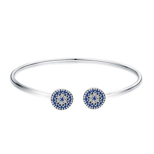 Pulsera de plata de ley 925 con ojo turco azul de la suerte y brazalete para mujer