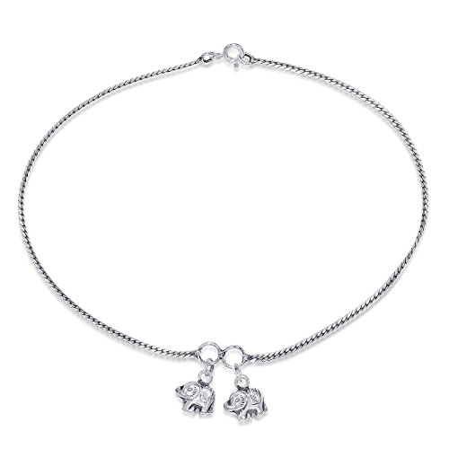 Peora Women's 925 Sterling Silver Elephant Charm Anklet(Silver)