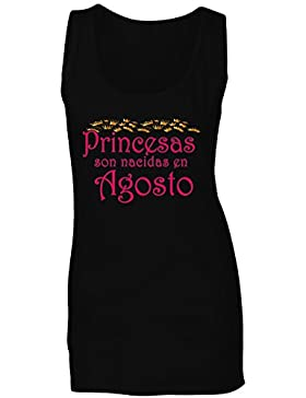 Nuevo Princesas son nacidas en Agosto camiseta sin mangas mujer z34ft
