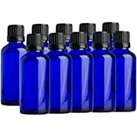 Premium Qualität Blaue Glasflaschen Aromatherapie Mit Schwarz Originalitätsverschluss - 10ER PACKUNG - Blau, 50ml preisvergleich bei billige-tabletten.eu