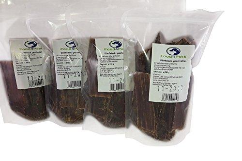 Rinder-Dörrfleisch Kausnack für Hunde 4er Set/ 4x 250g - im praktischen wiederverschließbaren Beutel, der natürliche Kausnack für ihren Hund