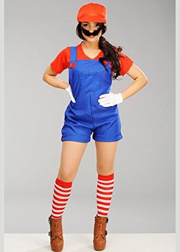 8in1 Damen-Super-Mario-Style Mario Plumber Kostüm XL (UK ()