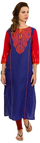 Folklore Women's Straight Kurta (FOKU001700_Royal Blue_M)  available at amazon for Rs.639
