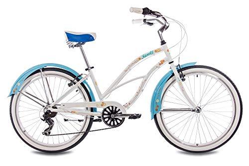 CHRISSON 26 Zoll Beachcruiser Sandy Weiss blau mit 6 Gang Shimano Tourney Kettenschaltung, Damenfahrrad im Retro Look, Vintage Cruiser Bike