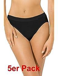 5er Pack Jazzpants Sport Edition Slip Damen, Bio Baumwolle Farbe: schwarz Größen 38-48