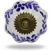 Melone pomello in ceramica, misura grande, colore: bianco e blu, serie finite Porta manopola,tira maniglia per Cassetti Armadio da Trinca-Ferro