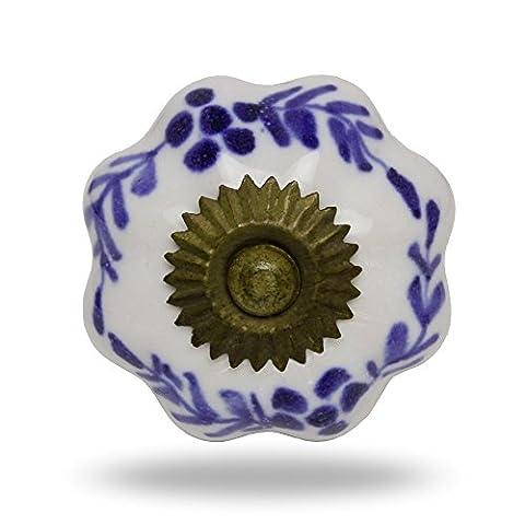 Ceramic Melon Knob Big White with Blue Sprigs and Antique Finish Kitchen Cabinet Cupboard Door Knobs Dressser Wardrobe and Drawer Pull By Trinca-Ferro