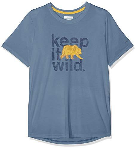 Mountain Short Sleeve Tee (Columbia Kurzärmliges T-Shirt für Herren, MILLER VALLEY SHORT SLEEVE TEE, Polyester/Viskose, Blau (Mountain), Gr. L, 1773231)