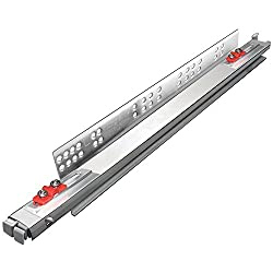 King Slide Telescopic Drawer Channel Slide PUSH OPEN for WIREBASKET Stainless steel strip SCREWLESS pullout Bottom undermount quadro tandem runner type Galvanized Finish 500mm 20 inches BULK PACK OF FOUR PAIRS
