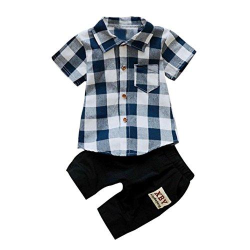 Manadlian Mode Kleinkind Plaid 2 Stück Outfits, Kinder Baby Junge Abdrehen Halsband T-Shirt Oberteile + Kurze Hose Hose Baumwolle Kleider (24M, Blau) (Chinesische Jungen Outfit Für)