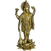 Induismo Vishnu in piedi in ottone Statua religiosa Per Puja Mandir 9 pollici, 1,3 kg