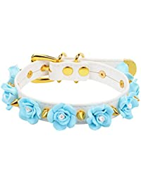 Handmade Cosplay Kitty Collar Kawaii Spikes Flower Leather Choker Necklace