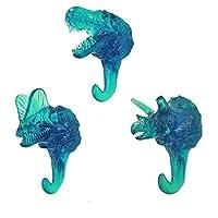 Blancho Bedding 3pcs Simulated Dinosaur Skeleton Hooks Simulation Fossils Resin Wall Hangers Coat Hooks Key Hooks,Transparent Blue