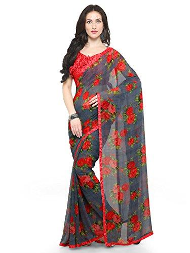 Vaamsi Georgette Printed Saree With Border (Tiara1005_Red_6.3 m length)