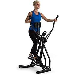 Klarfit Bogera X Máquina de Correr elíptica con Ordenador • Bicicleta elíptica • Pantalla LCD • Acolchado Abdominal Regulable • Plegable • Resiste hasta 100 kg • Negro