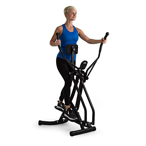 Klarfit Bogera X Crosstrainer mit Trainingscomputer - Air Walker, Heimtrainer, LCD-Display, einstellbares Bauchpolster, klappbar, max. 100 kg Gewicht, schwarz