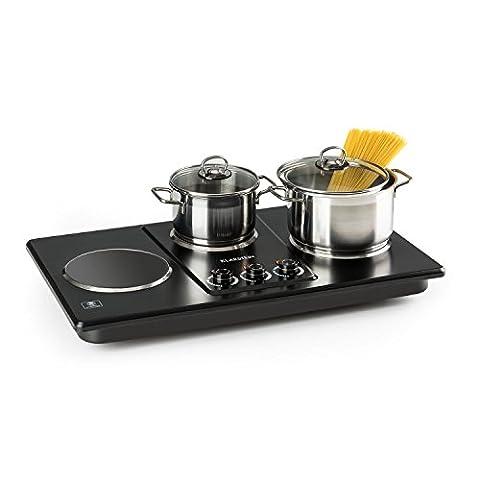 Klarstein Potzblitz Triple • Plaque de cuisson réglable en continu de 3 plaques • Puissance de 3300 W • Cuisson pour casseroles de 15 à 18 cm de diamètre • Surface en vitrocéramique de haute qualité • LED indiquant le fonctionnement • Noir