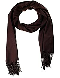 EOZY Casual Solid Color Soft Cashmere Winter Men Warm Tassels Shawl Scarf Brown
