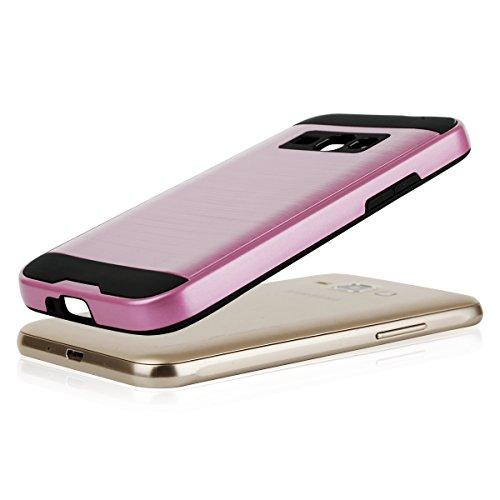 EGO® Hard Case Schutz Hülle für Samsung J120 Galaxy J1 2016, Blau Metallic Effect Brushed Handy Cover Schale Bumper Etui Top-Qualität Pink