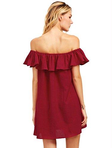 ROMWE Damen Schulterfreies Kleid mit Rüsche A-Linie Mini Sommerkleid Partykleid Strandkleid Burgundy