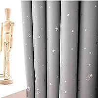 Lot De 2 Rideaux Gris Etoiles, Rideaux Enfants Etoiles (gris, 140x175cm)