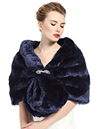Faux Fur Shawl Wrap Stole Shrug Winter Bridal Wedding Cover Up Navy Blue Size L