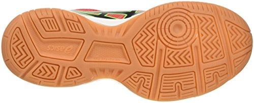 Asics Gel-Upcourt Gs, Chaussures de Volleyball Mixte Enfant Multicolore (Vermilion/Black/Green Gecko)