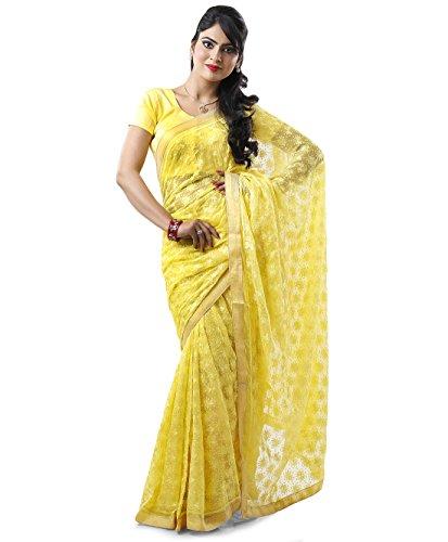 Lemon Tone to Tone Phulkari Saree with Free Blouse