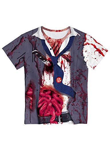 Shirt T Zombie Machen Kostüm - TUTOU Horror Halloween, Erwachsenen Maske Party Dekoration Requisiten Machen Sie Angst vor realistischen Zombies 3D-Blut gedruckt Kurzarm Liebhaber T-Shirt,T1020,L