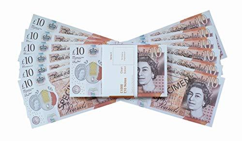 Premium Realistisches Pfund Spielgeld - Scheine wie echt UK 10 GBP falsche Scheine mit Gratis Sparbrief - Bedruckte Geldscheine perfekt für Filme, Social Media und Kasino Spiele geeignet