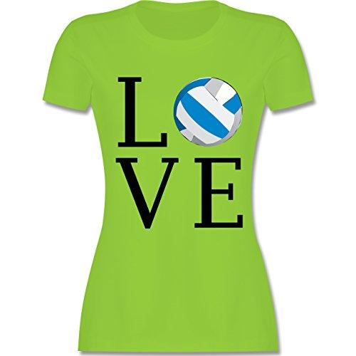 Volleyball - Love Volleyball - tailliertes Premium T-Shirt mit Rundhalsausschnitt für Damen Hellgrün