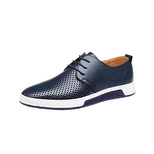 KonJin Men Leather Slip On Shoes Summer Breathable Business Leisure Hollow Solid Lace Up Leather Shoes