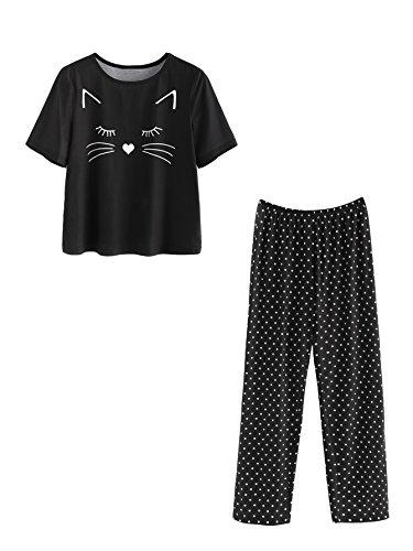 DIDK Damen Schlaf Anzug Set mit Katzen-Druck Top und Hose Pyjama Set Schwarz S (Pyjama Top)