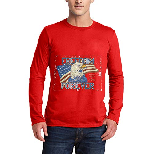 B274MLSTR Herren Langarm T-Shirt American Eagle American America Flag National Stars Indian Chief Warrior Wild Free Motorcycle Heritage Vintage(Large,Red) (American Langarm Eagle T-shirts)