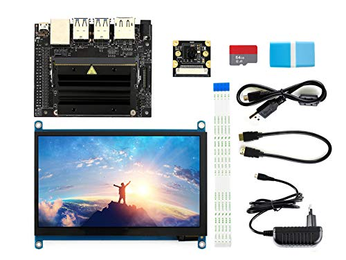 Waveshare NVIDIA Jetson Nano Developer Kit Package C with 7inch IPS Capacitive Touch Display IMX219-77 Camera Board TF Card Runs Multiple Neural Networks a Quad-core 64-bit ARM CPU Lcd-touch Screen Kit